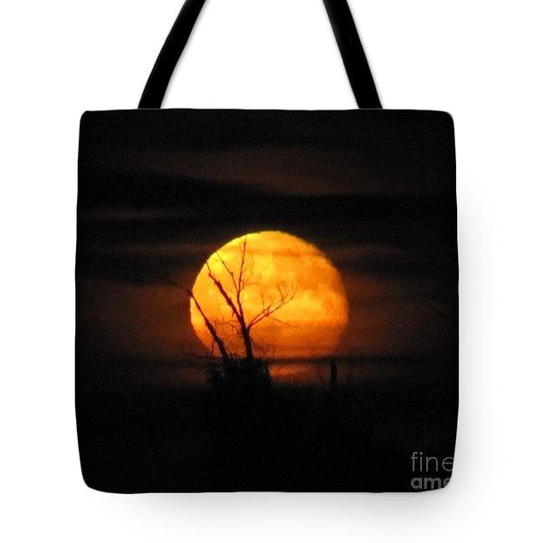 Foggy Harvest Moon Tote Bag
