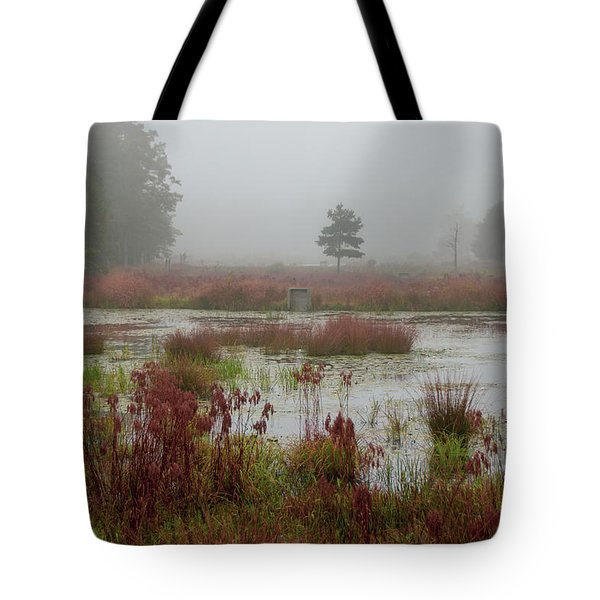 Tote Bag featuring the photograph Foggy Morning At Cloverdale Farm by Kristia Adams