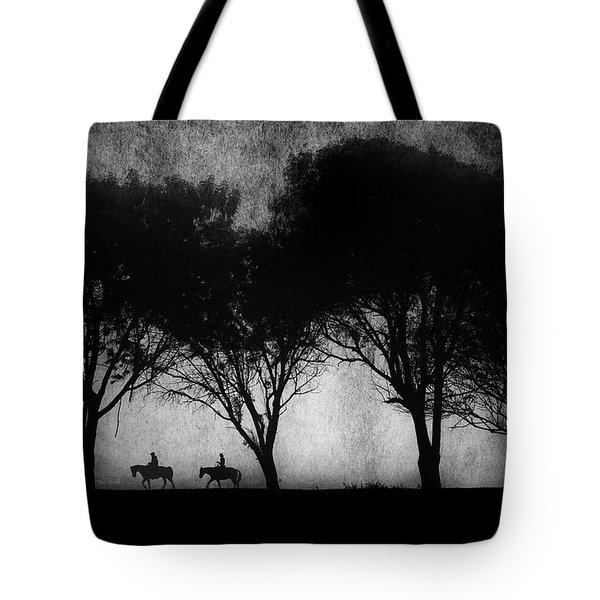 Foggy Morning Ride Tote Bag