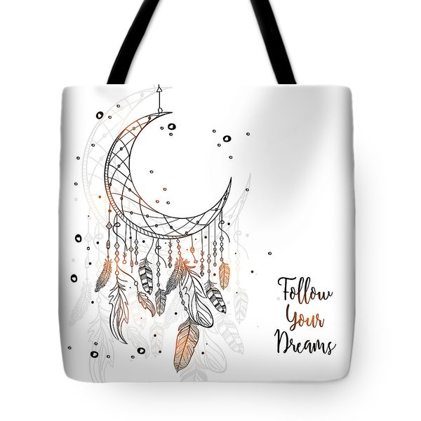 Follow Your Dreamcatcher - Boho Chic Ethnic Nursery Art Poster Print Tote Bag