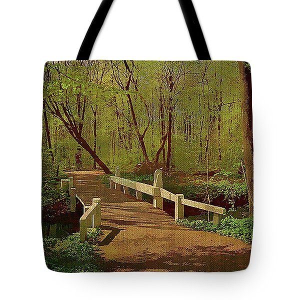 Footbridge Through The Woods Tote Bag