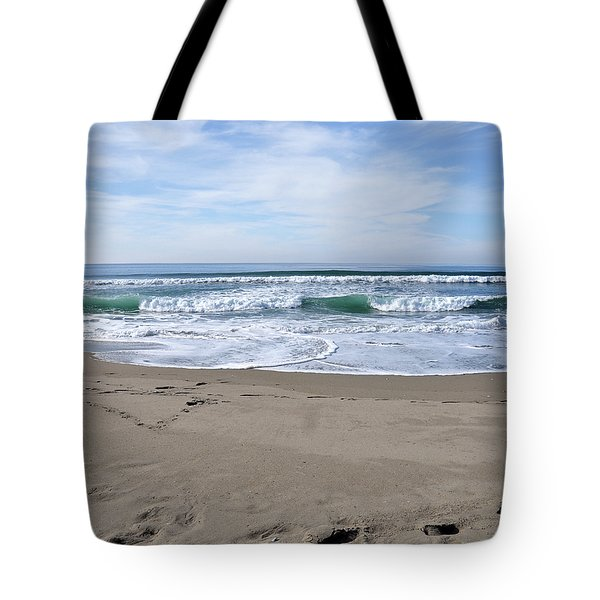 Footprints By The Sea Tote Bag