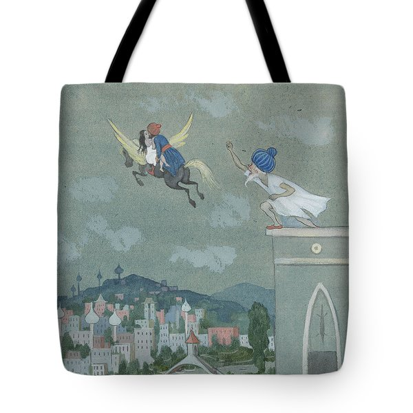 Tote Bag featuring the drawing For Loose Reins, The Horse Horse Rushes Away With Them Both by Ivar Arosenius