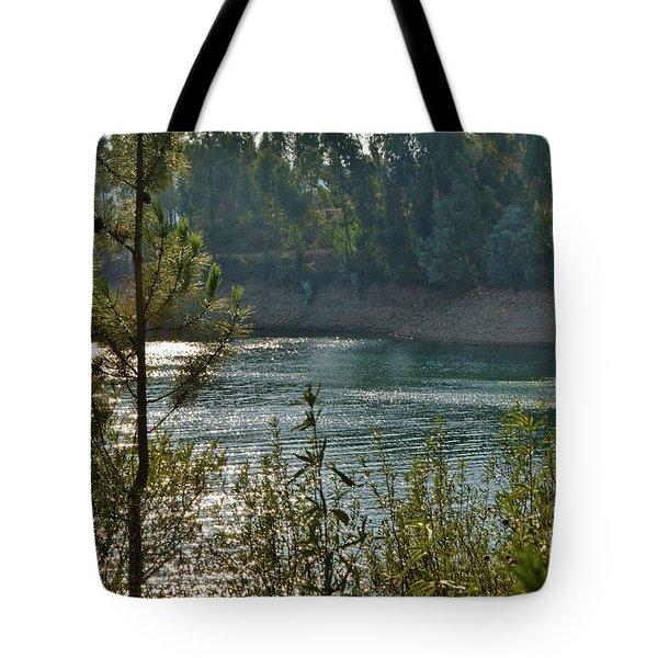 Forest Lake In Amendoa Tote Bag