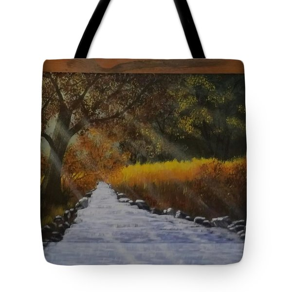 Forest Sunrays Over Water Tote Bag