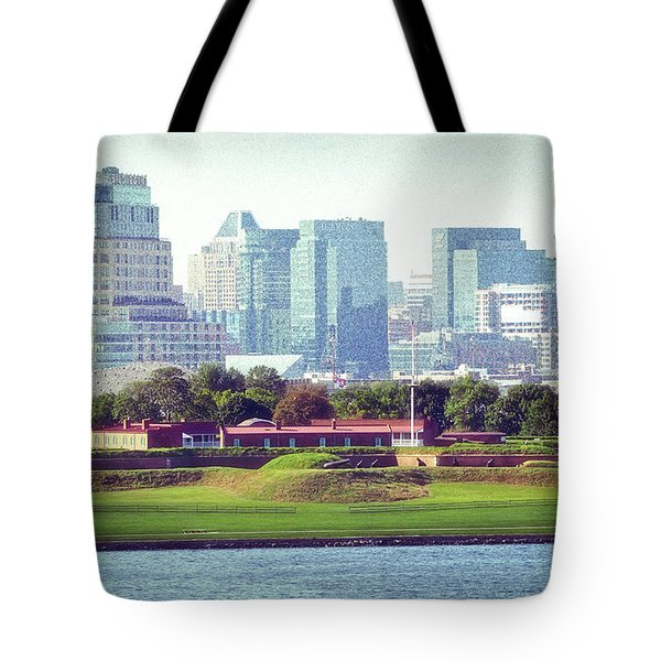Tote Bag featuring the photograph Fort Mchenry With Baltimore Background by Bill Swartwout Fine Art Photography