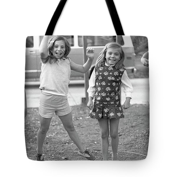 Four Girls, Jumping, 1972 Tote Bag