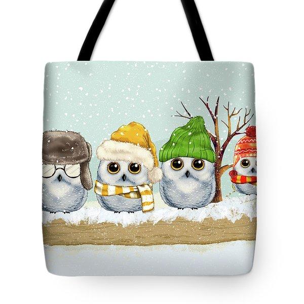 Four Winter Owls Tote Bag