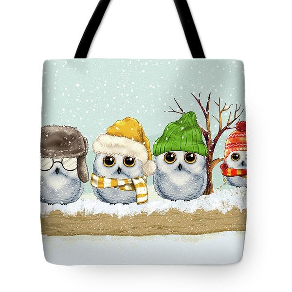 Four Winter Owls Tote Bag