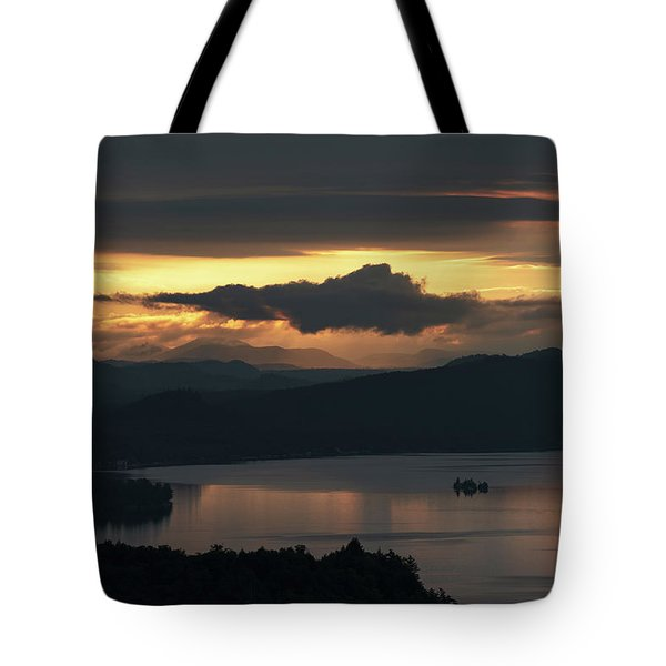 Tote Bag featuring the photograph Fourth Lake First Light by Brad Wenskoski