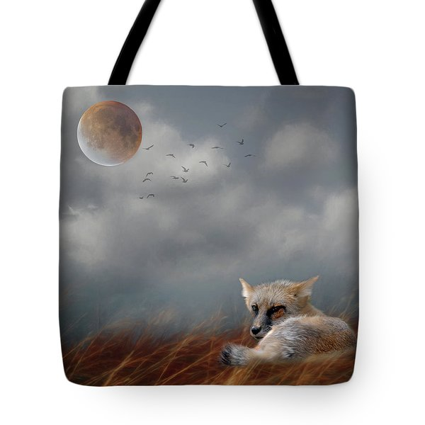 Fox In Moonlight Square Tote Bag