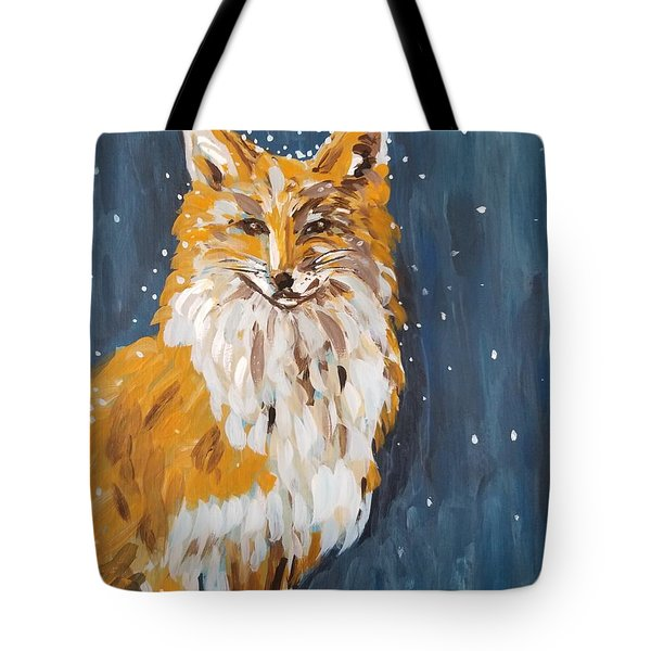 Tote Bag featuring the painting Fox Winter Night by Maria Langgle