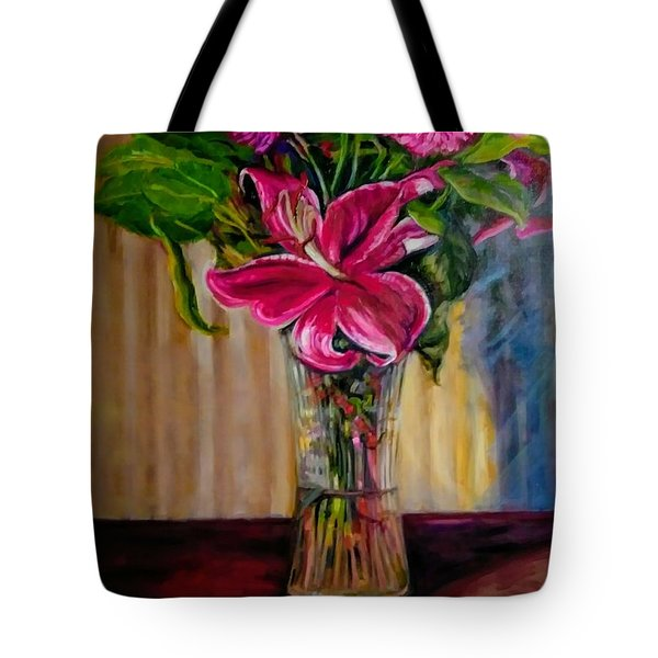 Tote Bag featuring the painting Fragrance Filled The Room by J Reynolds Dail