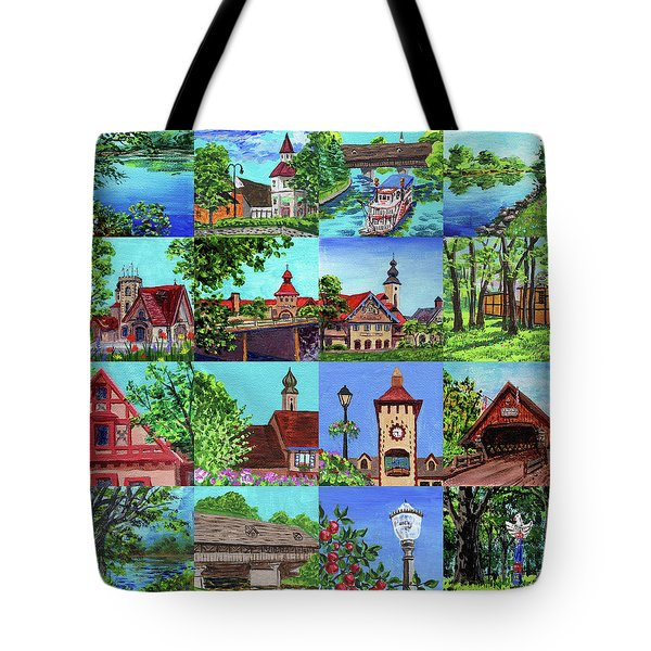 Frankenmuth Downtown Michigan Painting Collage I Tote Bag