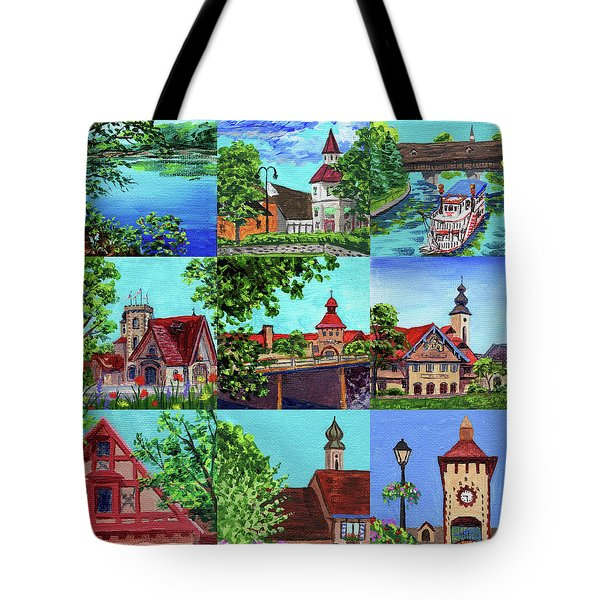 Frankenmuth Downtown Michigan Painting Collage II Tote Bag