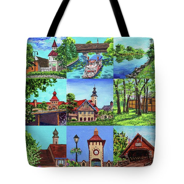 Frankenmuth Downtown Michigan Painting Collage IIi Tote Bag
