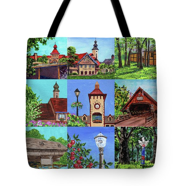 Frankenmuth Downtown Michigan Painting Collage Iv Tote Bag