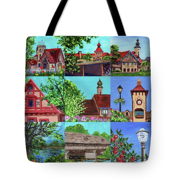 Frankenmuth Downtown Michigan Painting Collage V Tote Bag