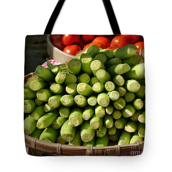 Fresh Baby Corn And Ripe Tomatoes Tote Bag