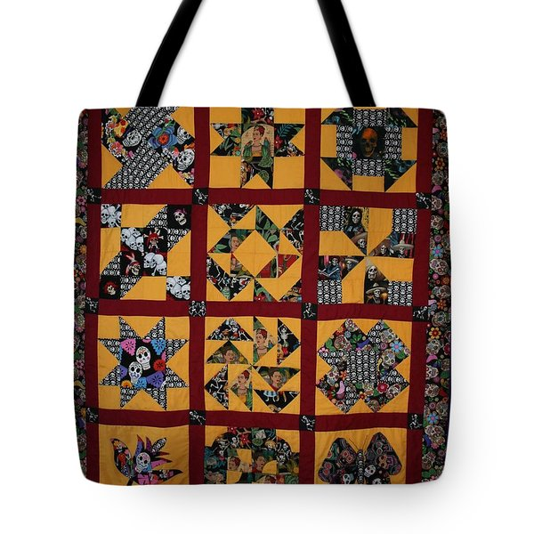 Tote Bag featuring the tapestry - textile Frida Quilt by Cynthia Marcopulos