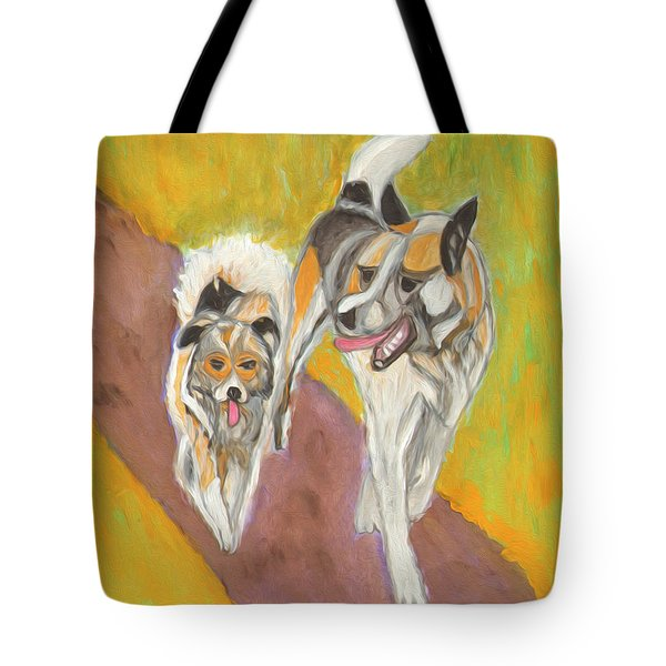 Tote Bag featuring the painting Friends by Dobrotsvet Art