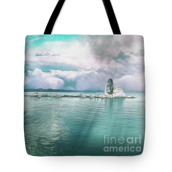 Tote Bag featuring the photograph From The Causeway Pontikonisi Corfu by Leigh Kemp