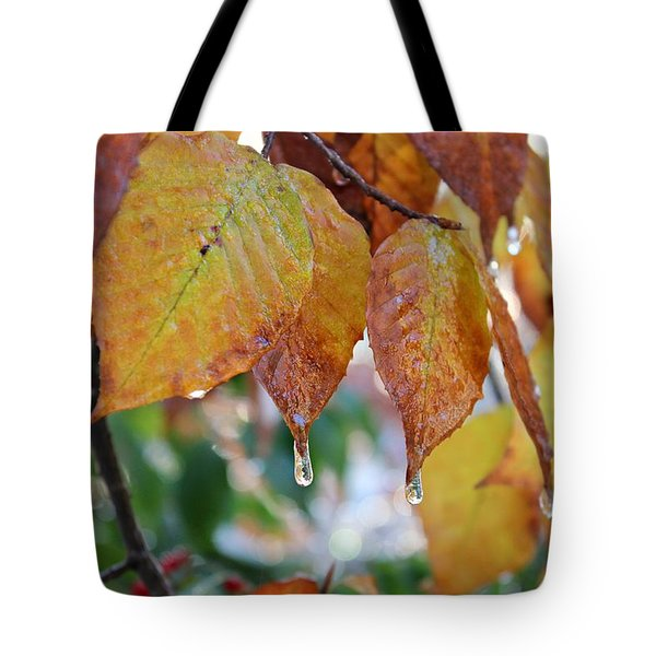Tote Bag featuring the photograph Icy Foliage by Candice Trimble