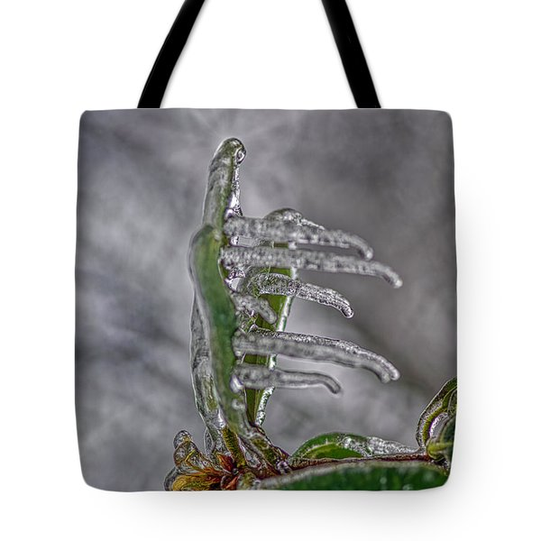 Tote Bag featuring the photograph Frozen Leaf by Meta Gatschenberger