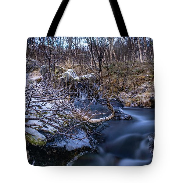 Frozen River And Winter In Forest Tote Bag