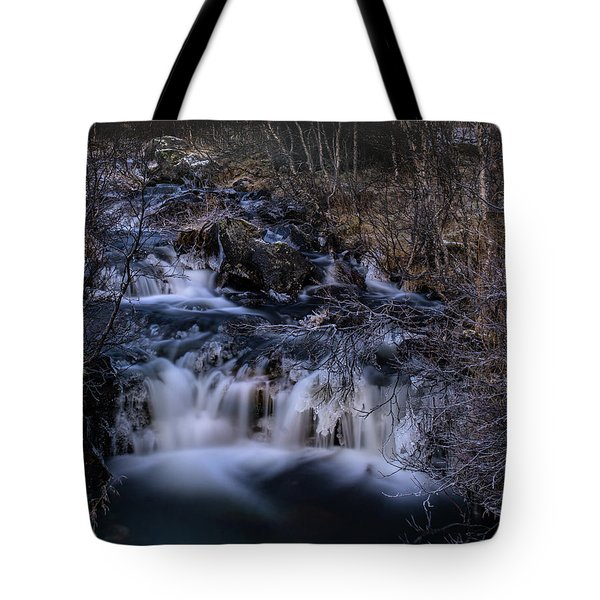 Frozen River In Forest - Long Exposure With Nd Filter Tote Bag
