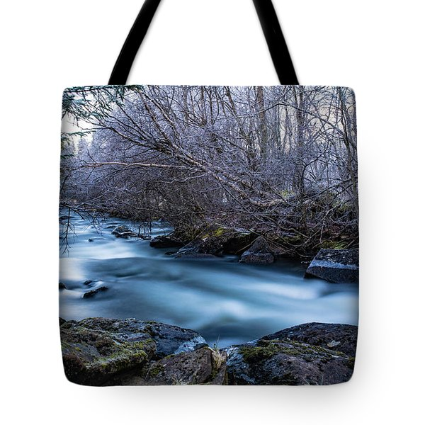 Frozen River Surrounded With Trees Tote Bag