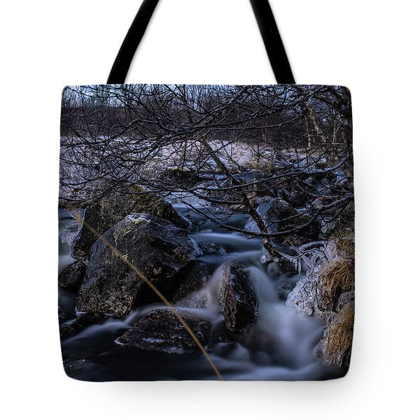 Frozen Stream In Winter Forest Tote Bag