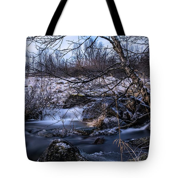 Frozen Tree In Winter River Tote Bag