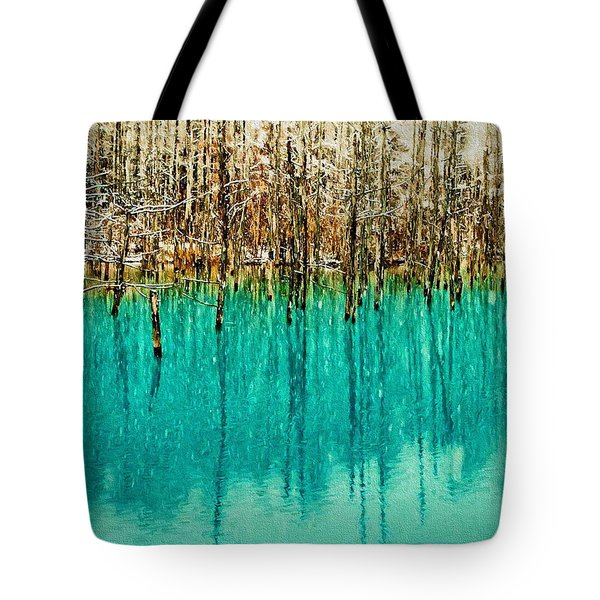 Frozen Trees On A Blue Pond Tote Bag
