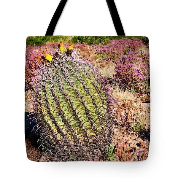 Fruit-bearing Barrel Cactus In Desert Rhubarb Tote Bag