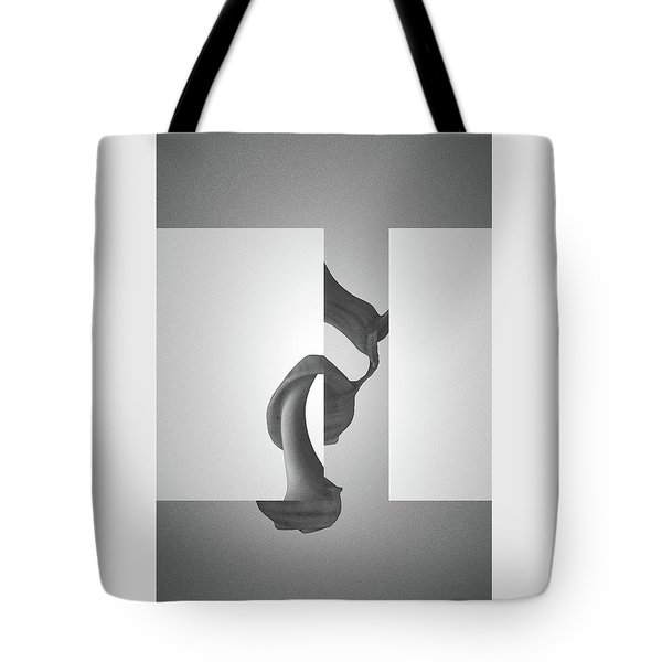 Fugue Mechanics In Black - Surreal Abstract Seashell And Rectangles Tote Bag