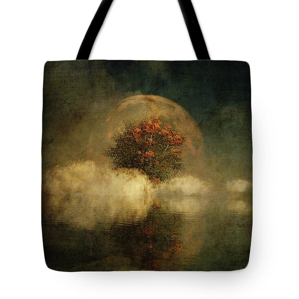 Full Moon Over Misty Water Tote Bag