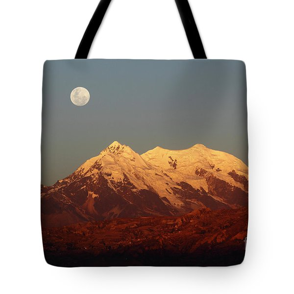 Full Moon Rise Over Mt Illimani Tote Bag