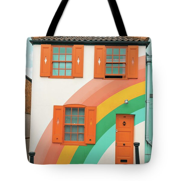 Funky Rainbow House Tote Bag