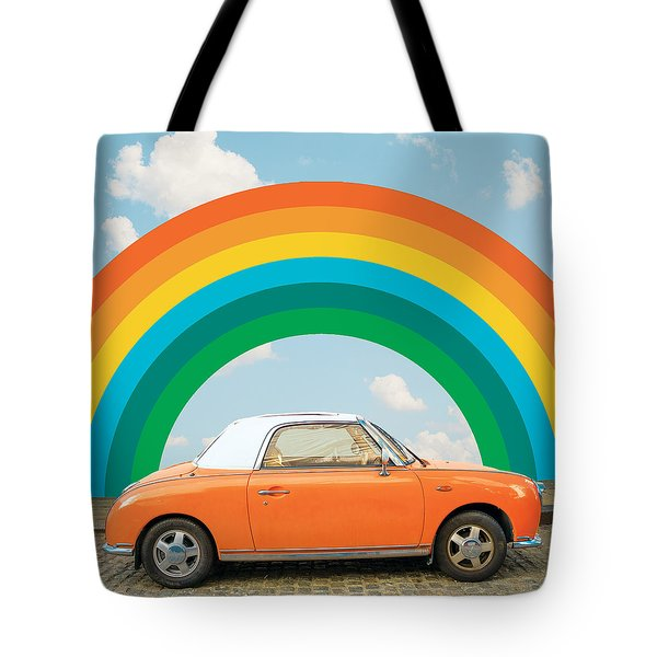 Funky Rainbow Ride Tote Bag