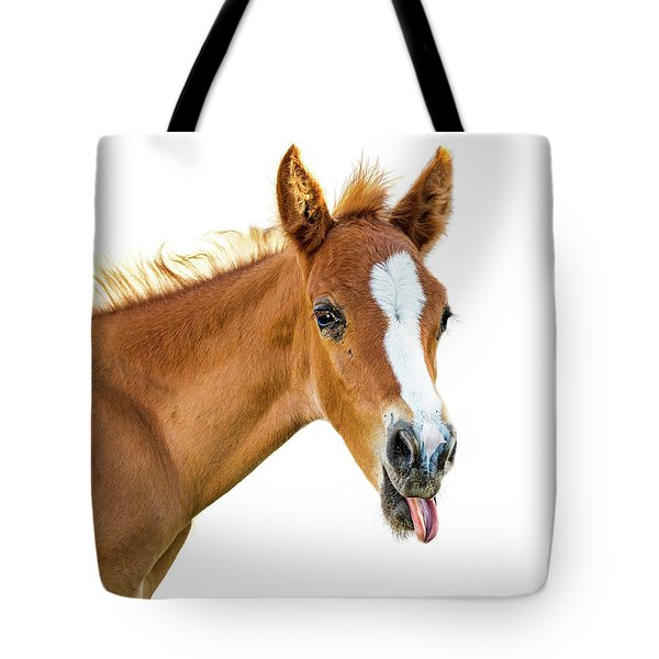 Funny Baby Horse Sticking Tongue Out Tote Bag