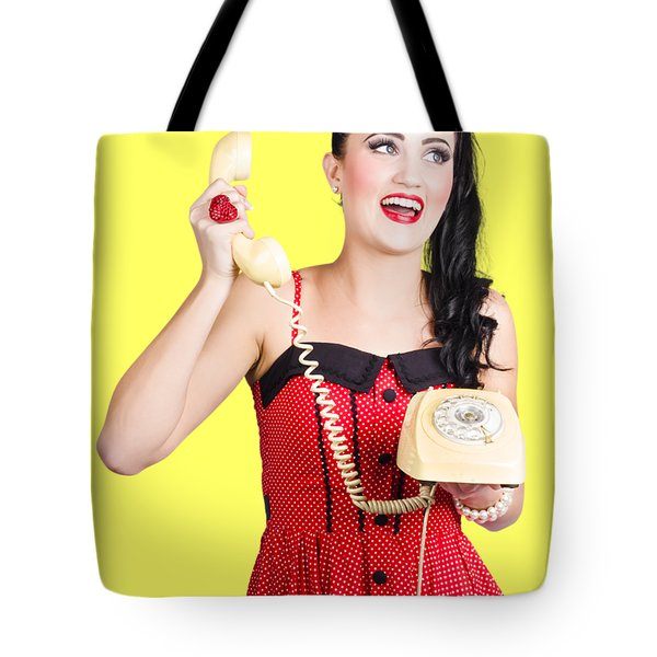 Funny Pin-up Woman Talking On Retro Phone Tote Bag