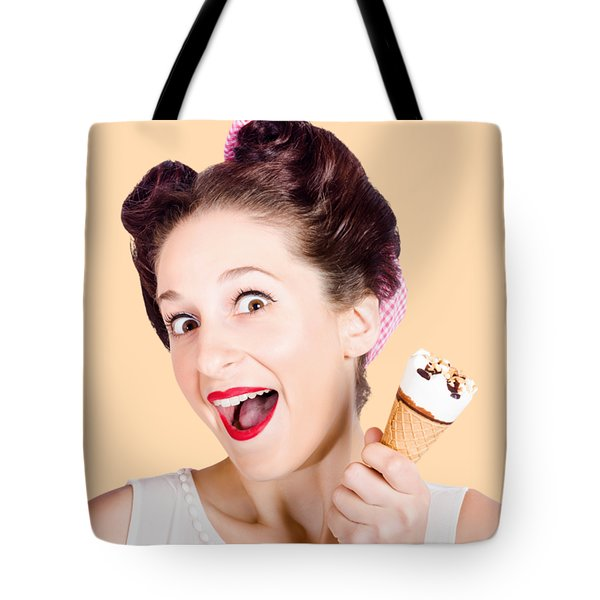 Funny Pinup Girl With Ice Cream In Isolated Studio Tote Bag