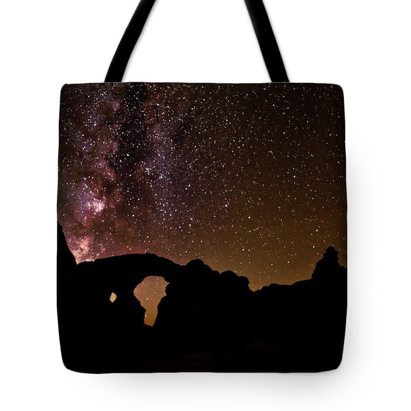 Tote Bag featuring the photograph Galactic Turret Arch by Andy Crawford