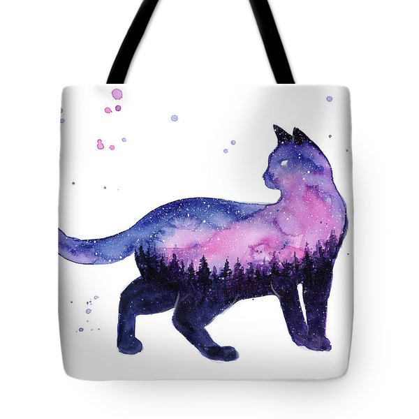 Galaxy Forest Cat Tote Bag