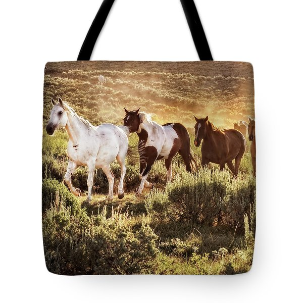 Galloping Down The Mountain Tote Bag