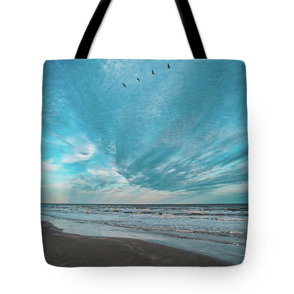 Tote Bag featuring the photograph Galveston Island First Light by Jeff Phillippi