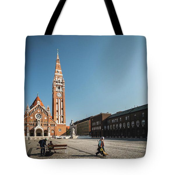 Tote Bag featuring the photograph Garbage Cleaners On Dom Square In Szeged  by Milan Ljubisavljevic