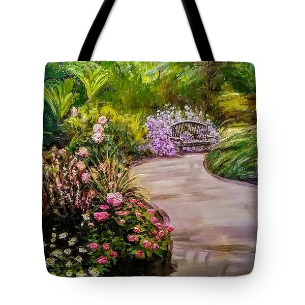 Tote Bag featuring the painting Path To The Garden Bench At Evergreen Arboretum by J Reynolds Dail