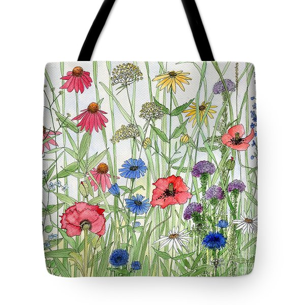 Garden Flower Medley Watercolor Tote Bag